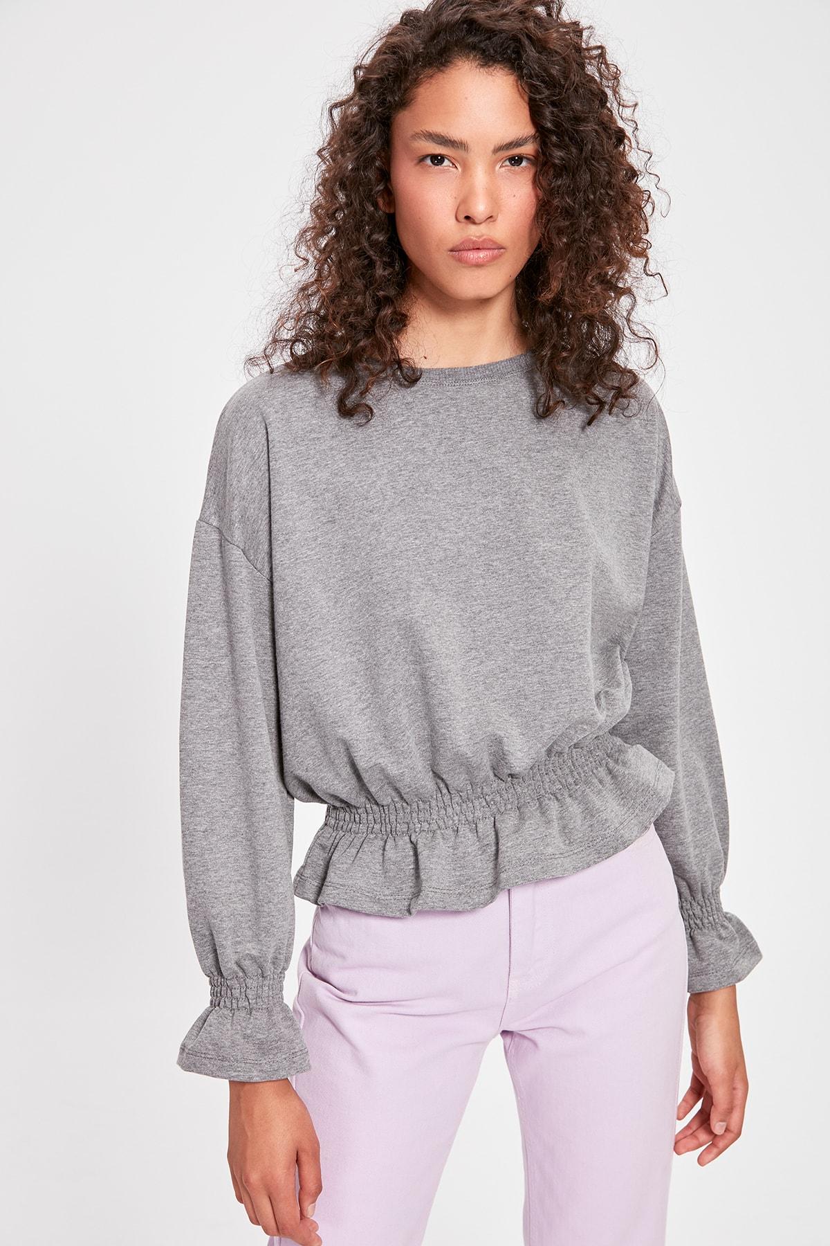 Trendyol Gray Gipe Detailed Knitted Sweatshirt TWOAW20SW0309