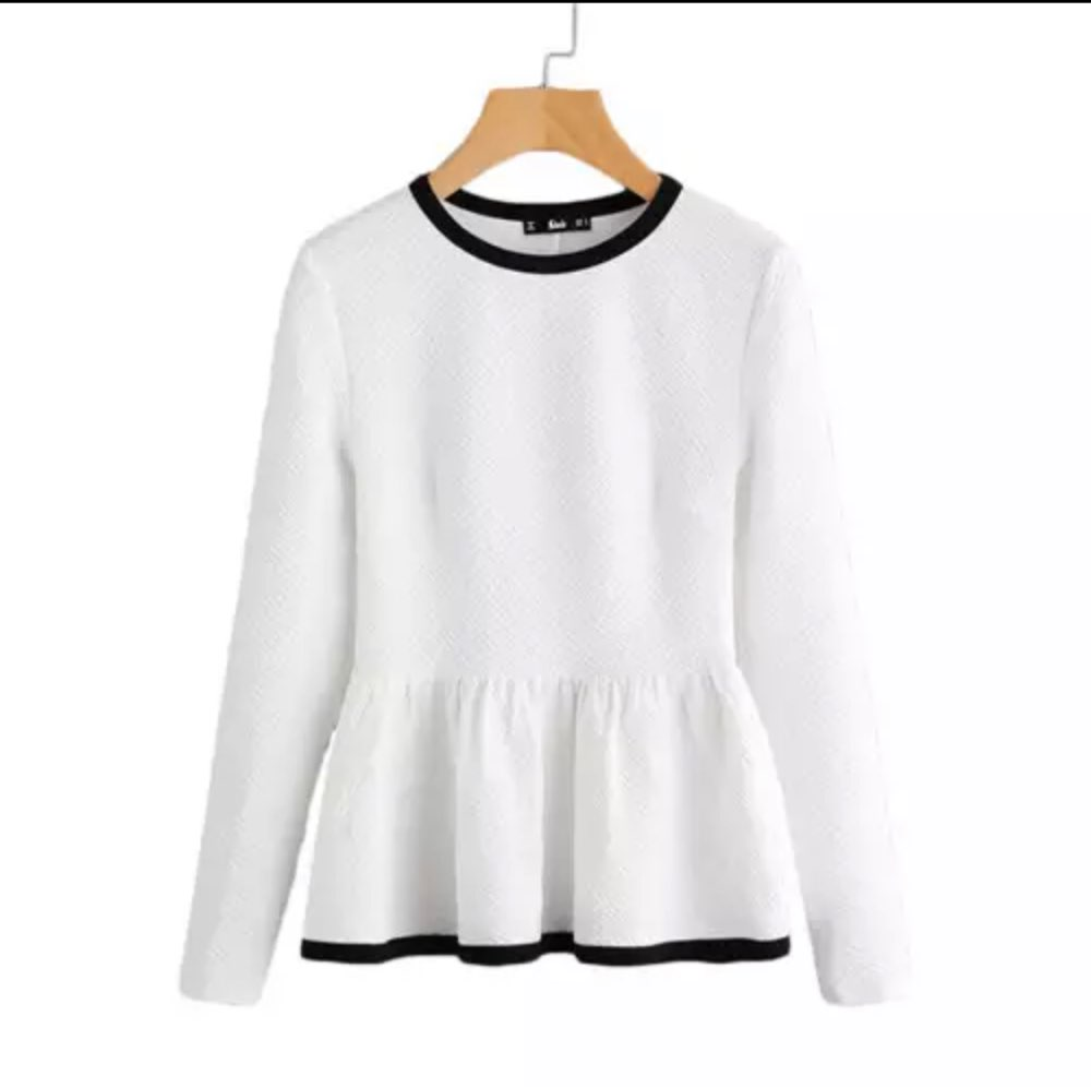 Contrast Binding Textured Peplum Shirt  White Women Tops Blouses Autumn Long Sleeve Elegant Fall Fashion Blouse photo review