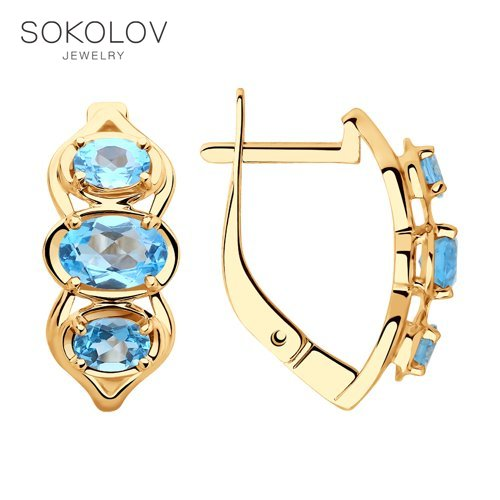 SOKOLOV Drop Earrings With Stones With Stones With Stones With Stones Of Gold With Topazes Fashion Jewelry 585 Women's Male
