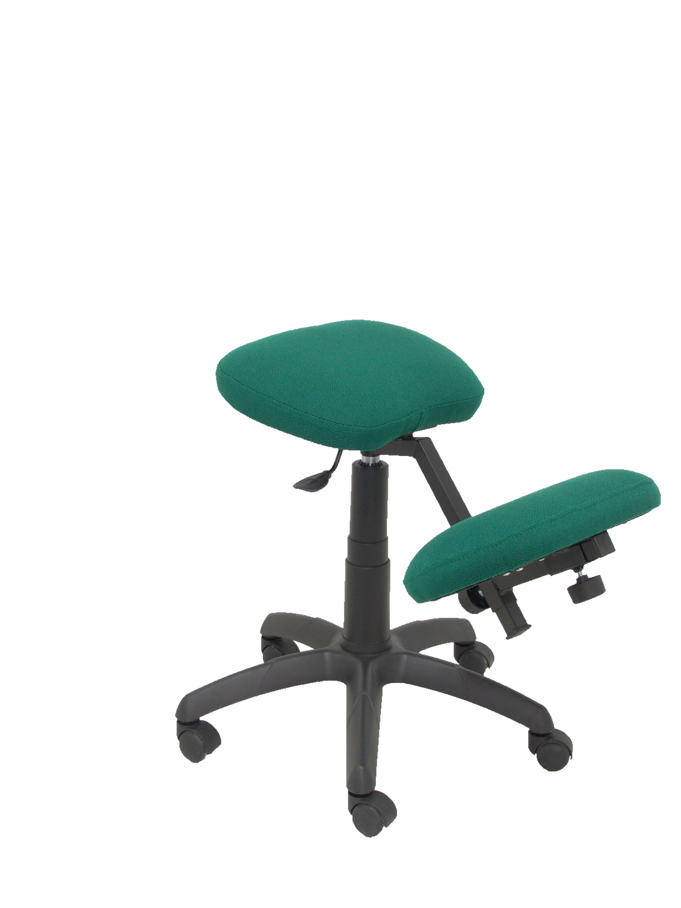 Office's Stool Ergonomic Swivel And Dimmable In High Altitude Up Seat Upholstered In BALI Tissue Green Color (KNEE