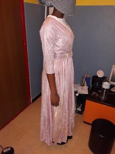 Reflective Long Dress Women Pleated Sexy Deep V Neck Elegant Autumn High Waist Belt Glitter Evening Party Pink Maxi Dresses photo review