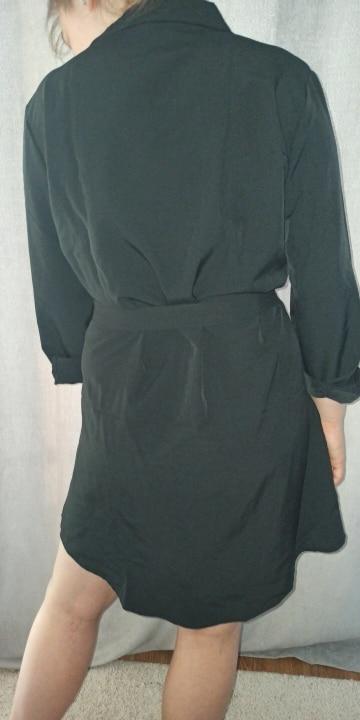 Fashion Casual Shirt Dress Fall Clothing Casual Solid Color Long Sleeve Button Turndowen Collar Women Mini Dress reviews №3 119854