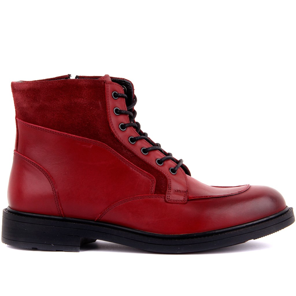 Sail-Lakers Burgundy Suede Leather Zipper Male Boots