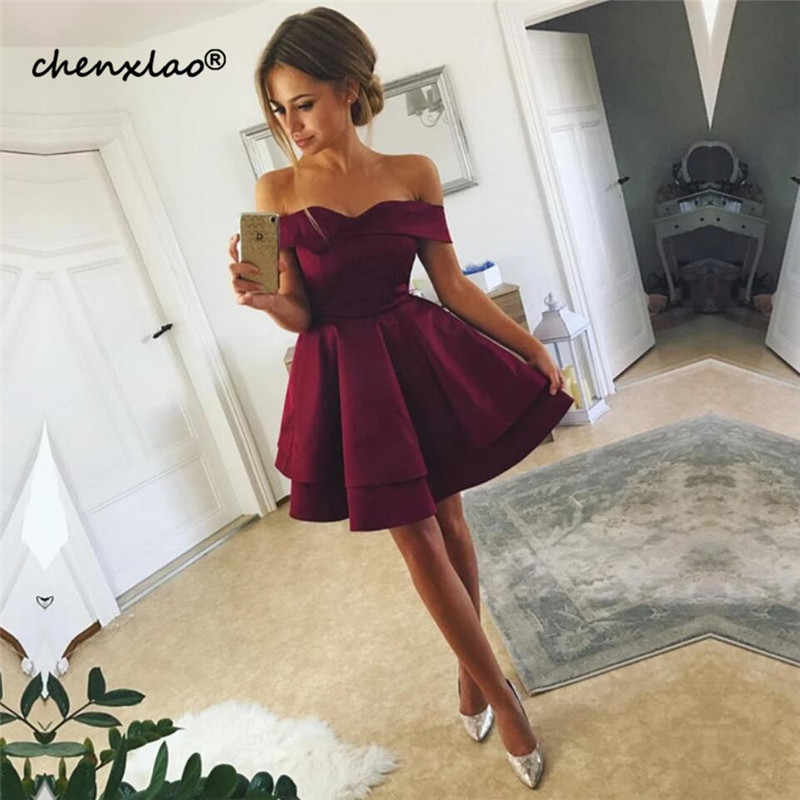 2019 Listagem do Novo Borgonha Satin Off-The-Ombro do Regresso A Casa Vestido Curto do Regresso A Casa Vestidos de Formatura Vestidos Vestidos