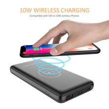 10W Wireless Charging Power Bank 10000mAh Portable External Battery QC 3.0 Charger PoverBank PD 18W Double USB Output Charging