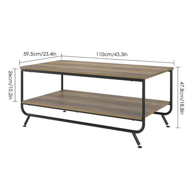 Industrial Coffee Table w/  Storage Shelf 6