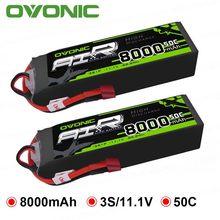 Ovoonic 8000mah 50c 11.1v 3s lipo bateria com plugue de deans para 1/10 & 1/8 tamanho rc caminhão de carro quad helicóptero zangão barco
