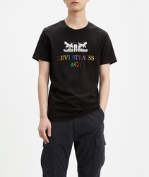 T-shirt Levis®2-Horse 90s logo text T black color short sleeve BRANDED for men Clothing male