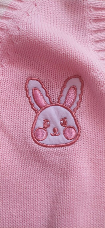 Egirl Soft girl Harajuku Pink vest with Small rabbit Embroidery photo review