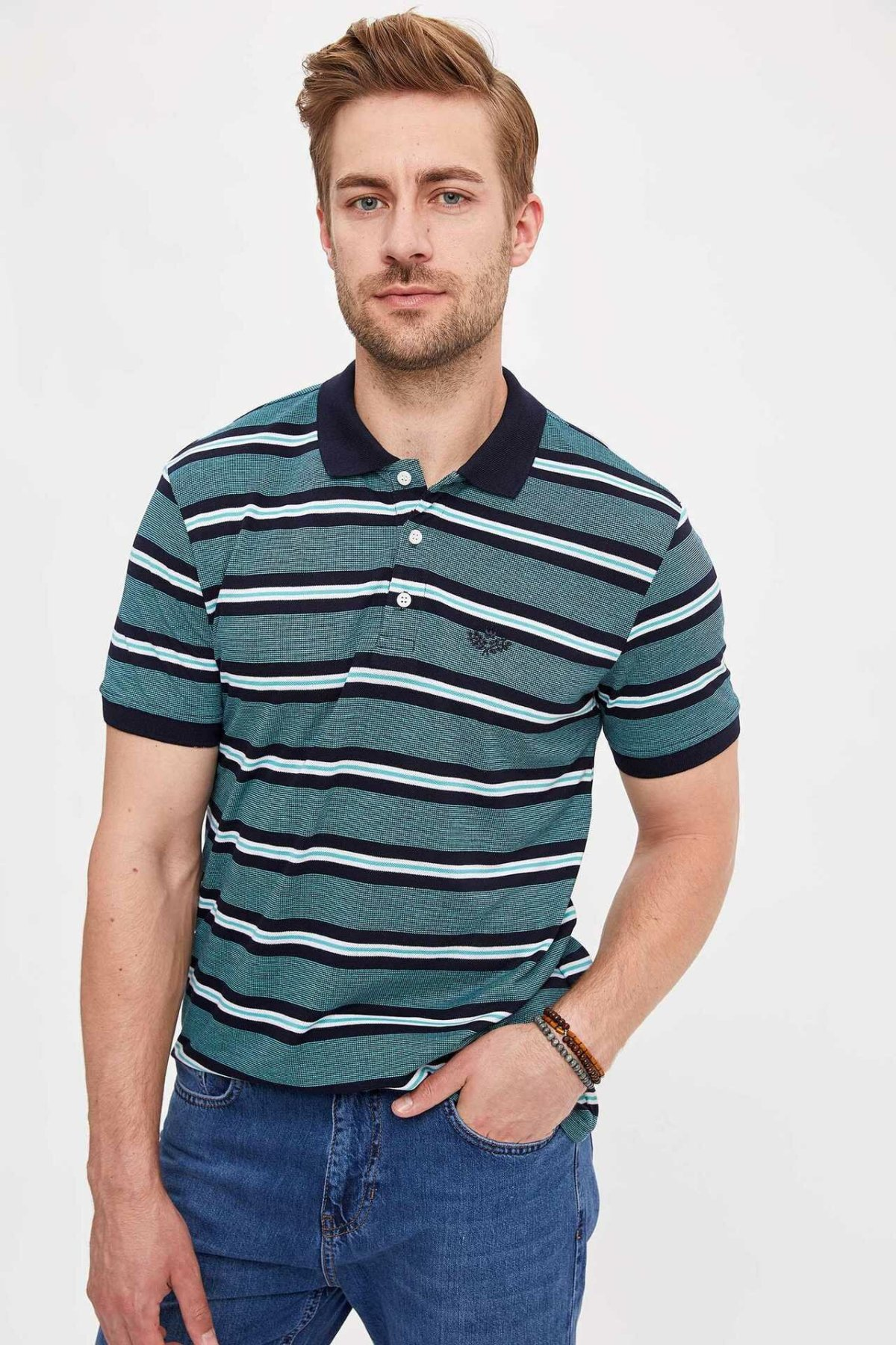 DeFacto Man Striped Knitted Polo Shirt Men Fit Slim Short Sleeve Polo Shirts Casual Homme Top Cloth-L0230AZ19SM