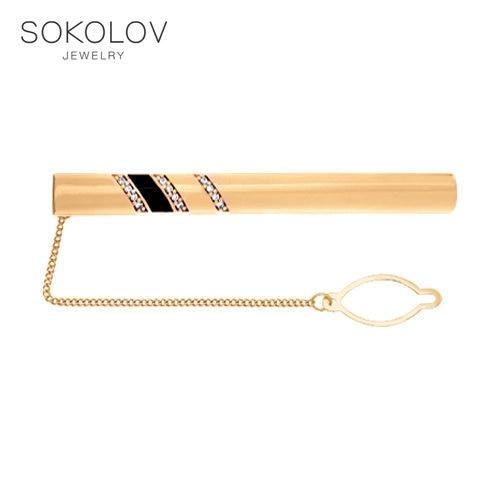 Stylish Tie Clip SOKOLOV From Silver With Gilding Fashion Jewelry 925 Women's Female Women's Female Women's Female Women's Female Women's Female Men's Male
