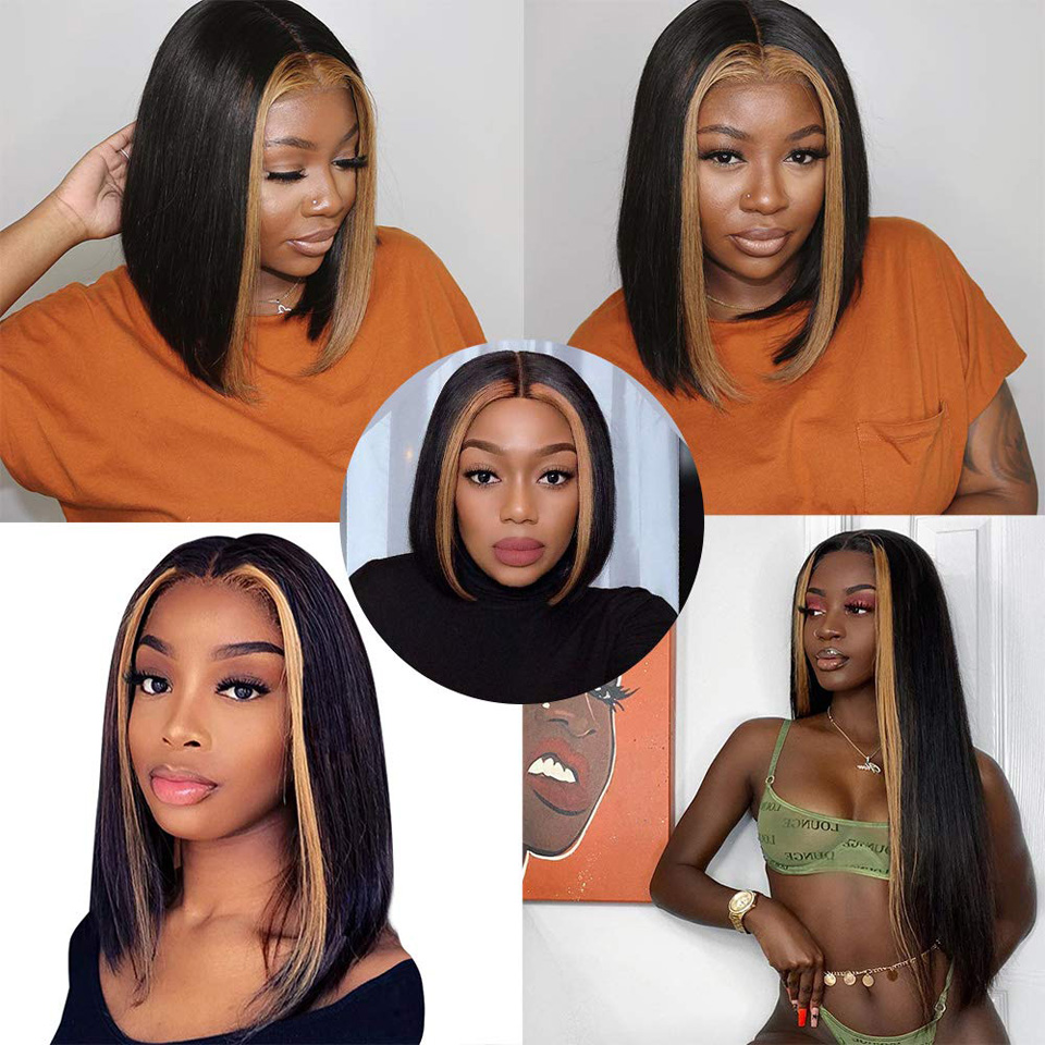 13x4 Highlight Straight Bob Wig Ombre Color Lace Front Human Hair Wigs Brazilian Pre Plucked with Baby Hair Lace Frontal Wigs-02