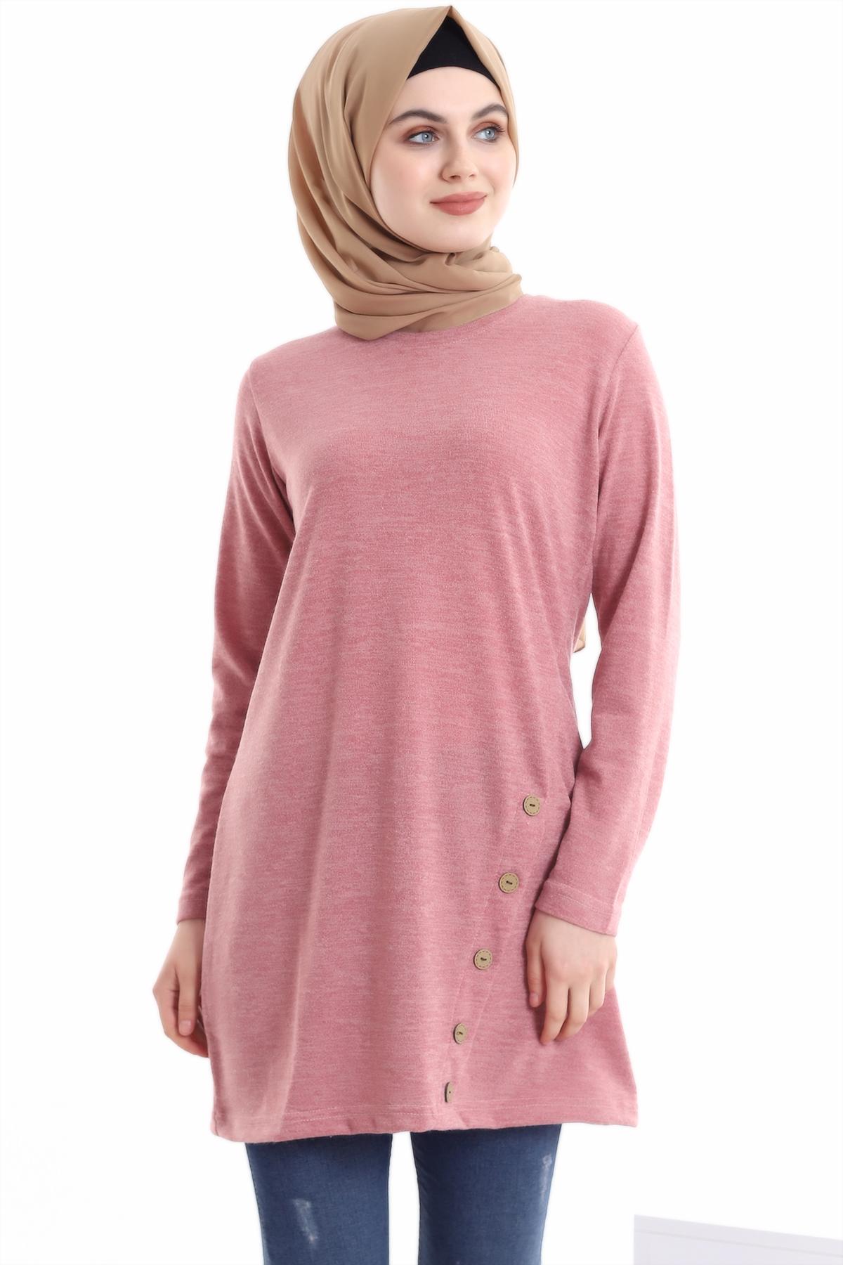 2021 season Autumn winter Dress Women O Neck long Sleeve Casual Sweater Dresses Muslim Fashion Buttoned Blouse Elegant Sweater