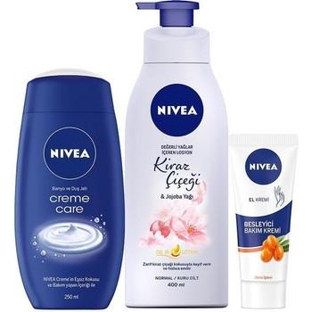 Nivea Nıvea Vucüt Care Cream Cherry 400 ml + Nıvea Creme Care Shower Gel 250 ml Women 'S + Nıvea Feeder hand Cream 75 ml 1