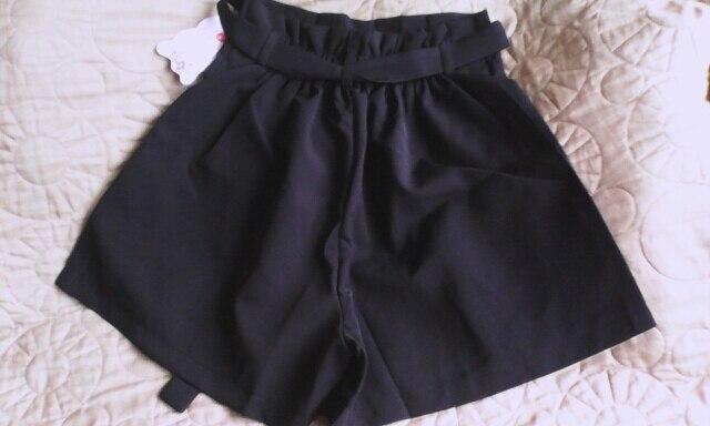 Korean Lace Up Bowknot High Waist Shorts Womens Cute Pleated Wide Leg Shorts Summer Casual Loose Shorts photo review