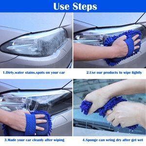 Image 3 - 2 szt. Gąbka do mycia samochodu z mikrofibry Ultra miękka, odporna na zarysowania Premium Chenille Wash Mitt Glove myjnia samochodowa akcesoria narzędziowe