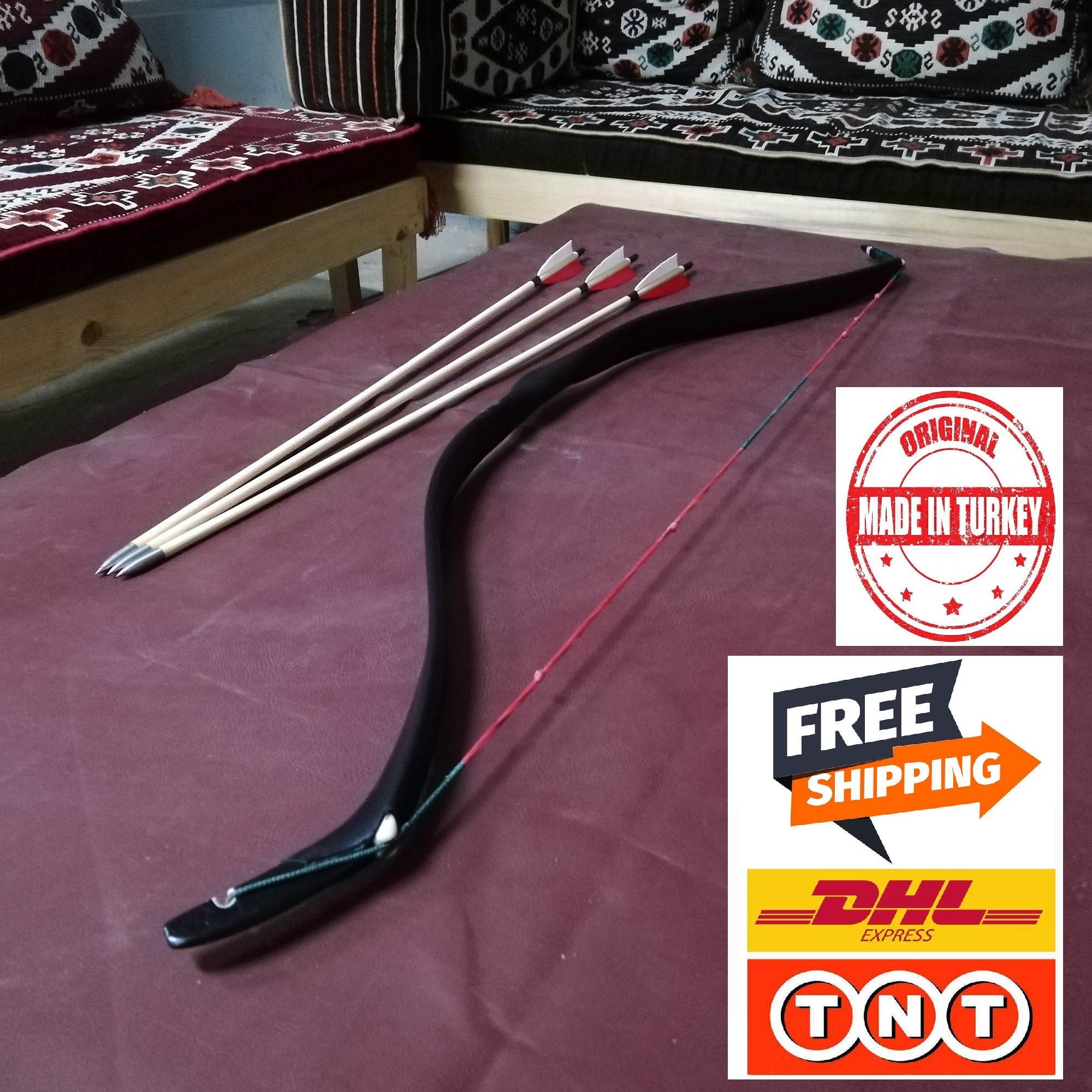 Okcubaba premium turco tradicional pv resina de fibra de vidro arco alvo tiro 30-45 libras turco forma otomano-frete grátis dhl/tnt