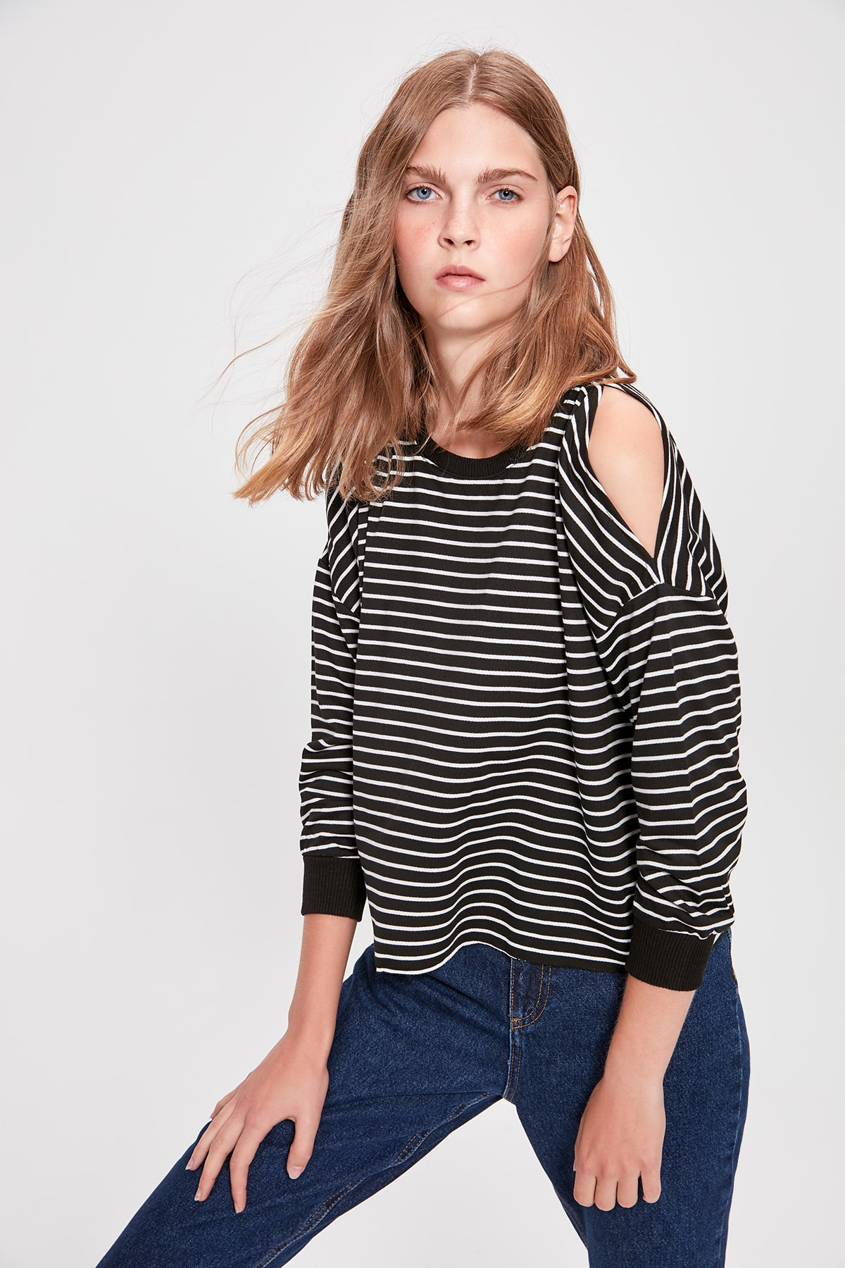 Trendyol Black Striped Knitted Sweatshirt TWOAW20SW0387
