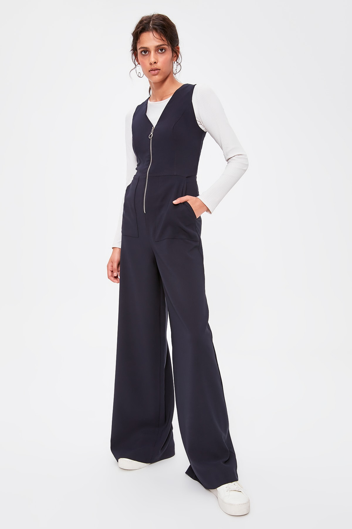 Trendyol Navy Blue Zipper Jumpsuit TWOAW20TU0046
