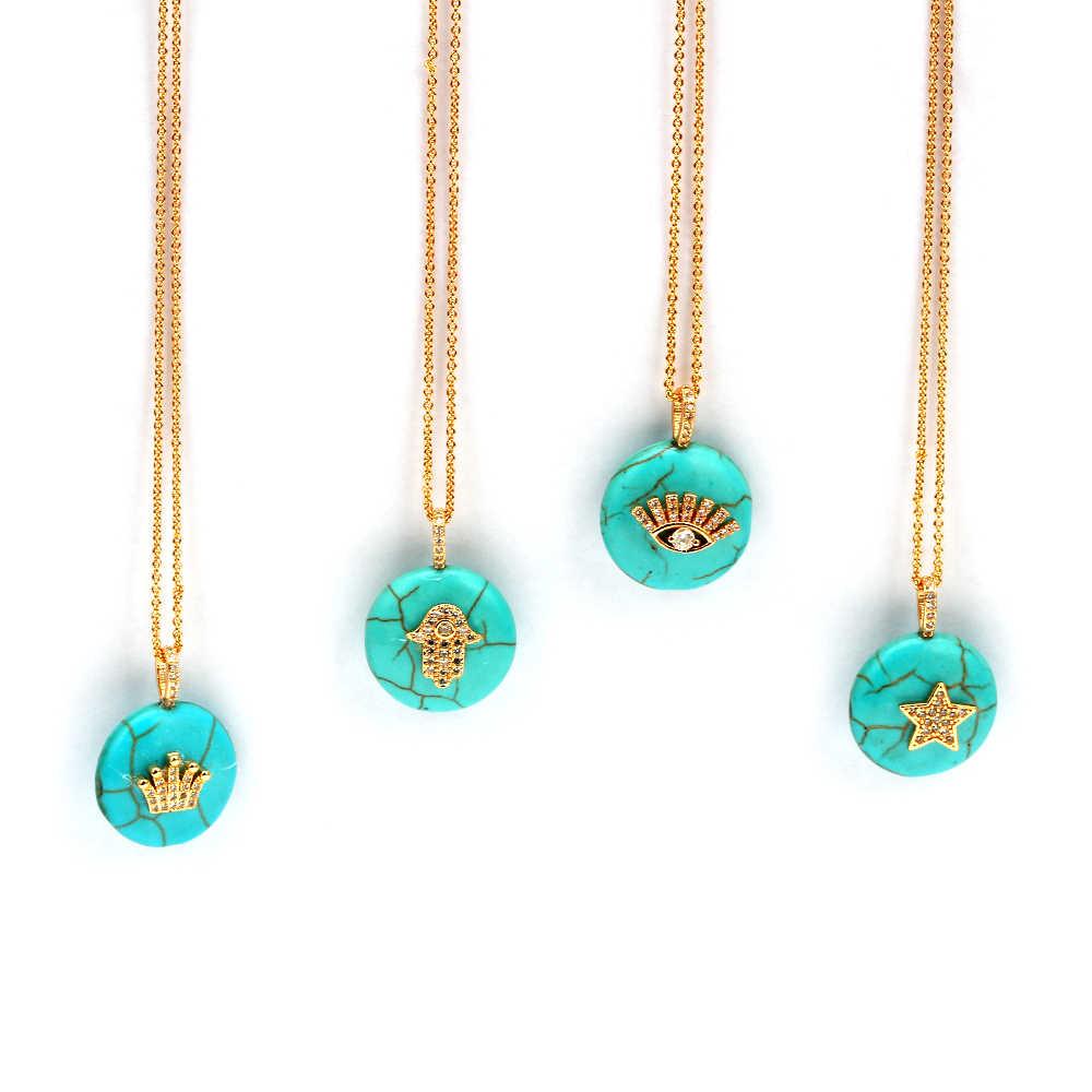 Meiperles CZ pierre naturelle 20mm vert Turquoises Hamsa main couronne mauvais œil breloques colliers pendentifs pour femmes bijoux