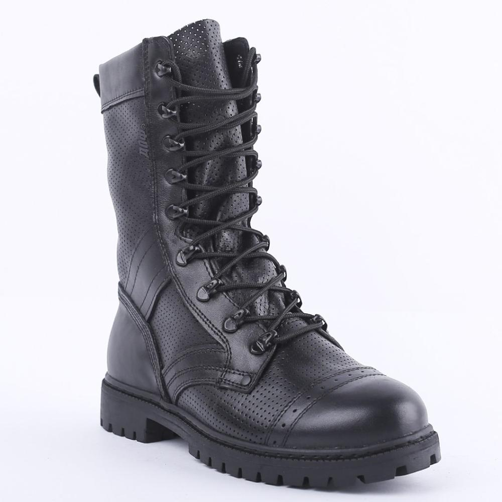 Genuine Leather Lace-up Black Ankle Boots Men High Shoes Flat Military Boots Made In Russia 5000/4 LA