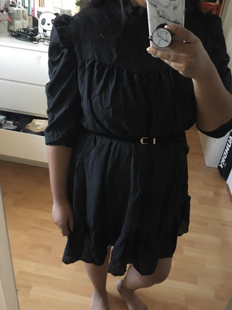 Hot 2019 autumn new fashion women's temperament commuter puff sleeve small high collar natural A word knee Chiffon dress reviews №1 182560
