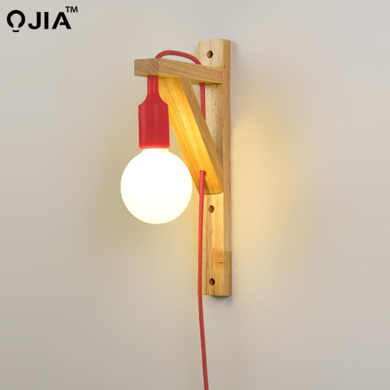 Wall Lamps With Cable  Simple Wooden  Creative Hanging Solid Wood For Stairs Aisle Light Living Room Sconce Lamp Fixtures