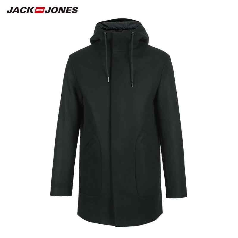 JackJones 冬男性のフード付きパーカーコートウールのオーバーコートカジュアルロングオーバーコート紳士服 218427506