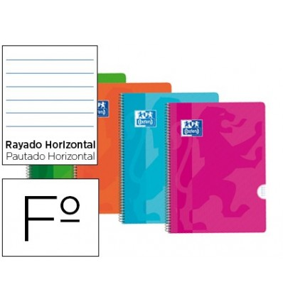NOTEPAD SPIRAL OXFORD PLASTIC CAP OPTIK PAPER FOLIO 80 SHEETS 90 HORIZONTAL