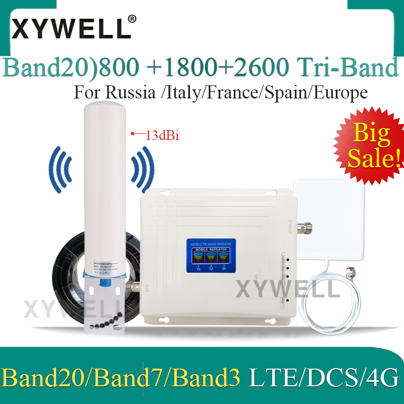 B20)LTE 800 1800 2600 Mhz Tri-Band 4G Cellular Amplifier 4G Signal Booster LTE DCS Repeater GSM 2g 3g 4g Mobile Signal Booster