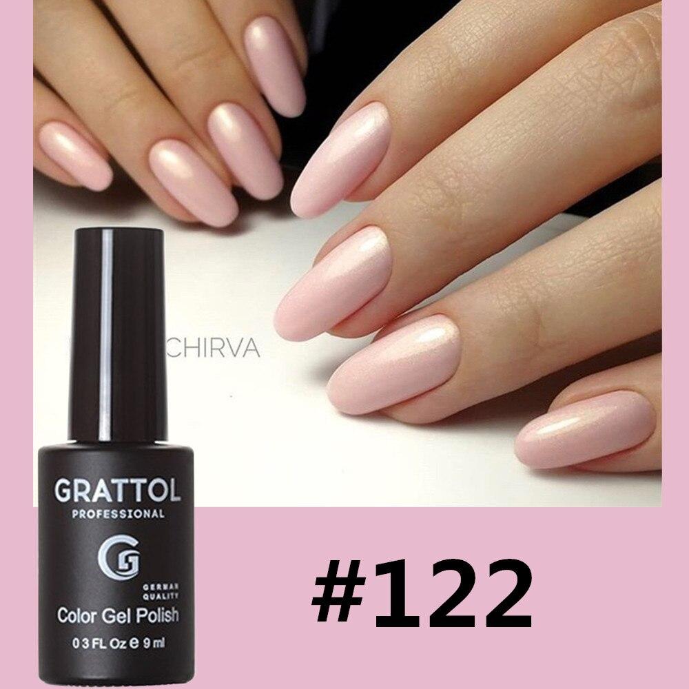 GRATTOL Профессиональный Гель-лак для ногтей высокого качества для маникюрного салона 122 блестящий цвет 9 мл отмачиваемый органический УФ свет...