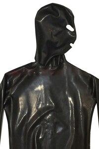 Image 4 - LinMe Unisex เท้า Unitard Faux หนัง PVC เงา Clubwear Hook หน้ากาก Catsuit เต็มรูปแบบ Wetlook Plus ขนาดฮาโลวีนเครื่องแต่งกาย