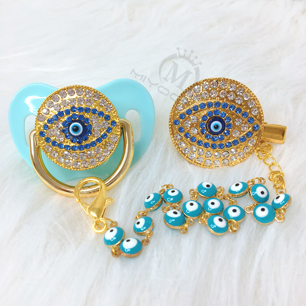 MIYOCAR Green Bling Evil Eye Pacifier And Clip Set Pacifier Chain Holder Bling Lovely Evil Eye Pacifier AEYE-G