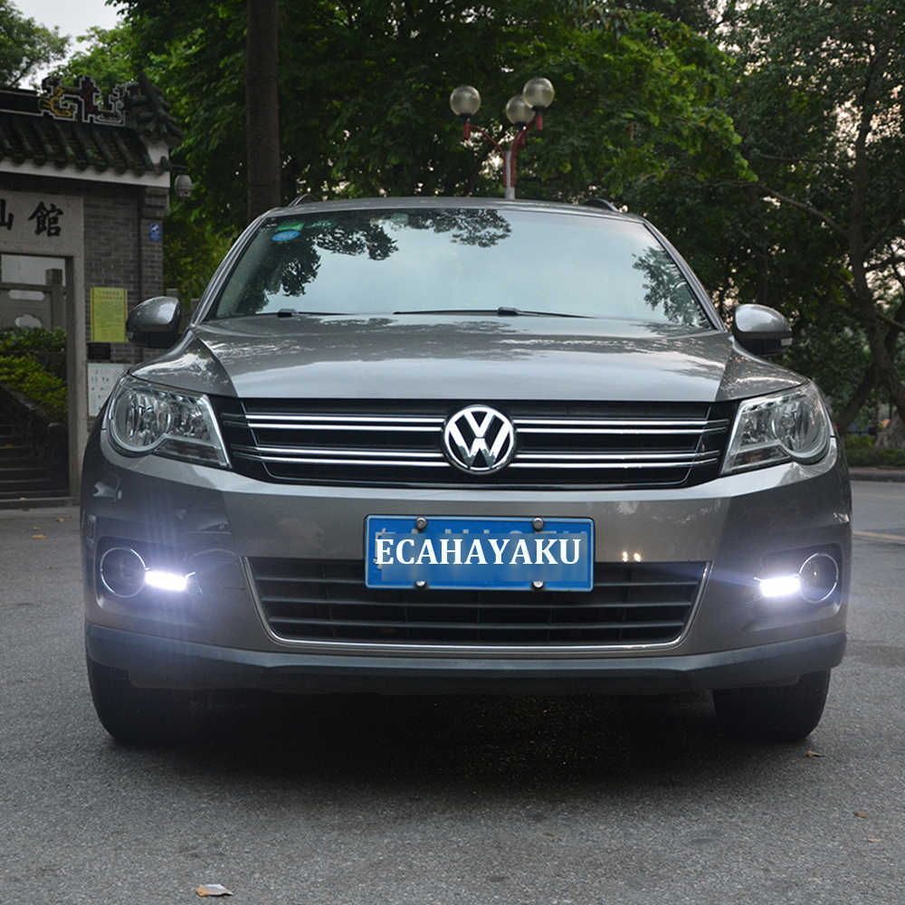 ECAHAYAKU LED Daytime Running Lamp Fog Lights 12V For Volkswagen Tiguan 2010 2011 2012 cover Car Styling White Daylight