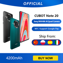 Cubot Note 20 Phía Sau Quad Camera Điện Thoại Thông Minh NFC 6.5 Inch 4200 MAh Google Android 10 Dual Sim Thẻ Điện Thoại 4G LTE 3GB + 64GB Celular