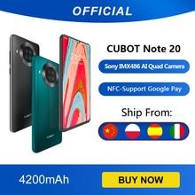 Cubot Note 20 ด้านหลัง Quad กล้องสมาร์ทโฟน NFC 6.5 นิ้ว 4200mAh Google Android 10 Dual SIM Card โทรศัพท์ 4G LTE 3GB + 64GB celular