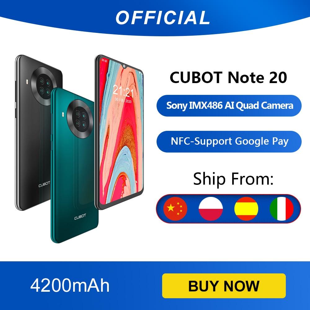 Cubot Note 20 cuádruple cámara trasera Smartphone NFC 3GB + 64GB 6,5 Inch 4200mAh batería Google Android 10 tarjeta SIM Dual teléfono móvil 4G LTE celular OTG celular