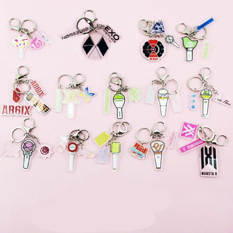 KPOP акрил брелок для ключей, брелок для ключей, Astro 6-й день NCT защищает Детские монста X Super Junior EXO TXT Bangtan Boys JISOO вентиляторы коллекция