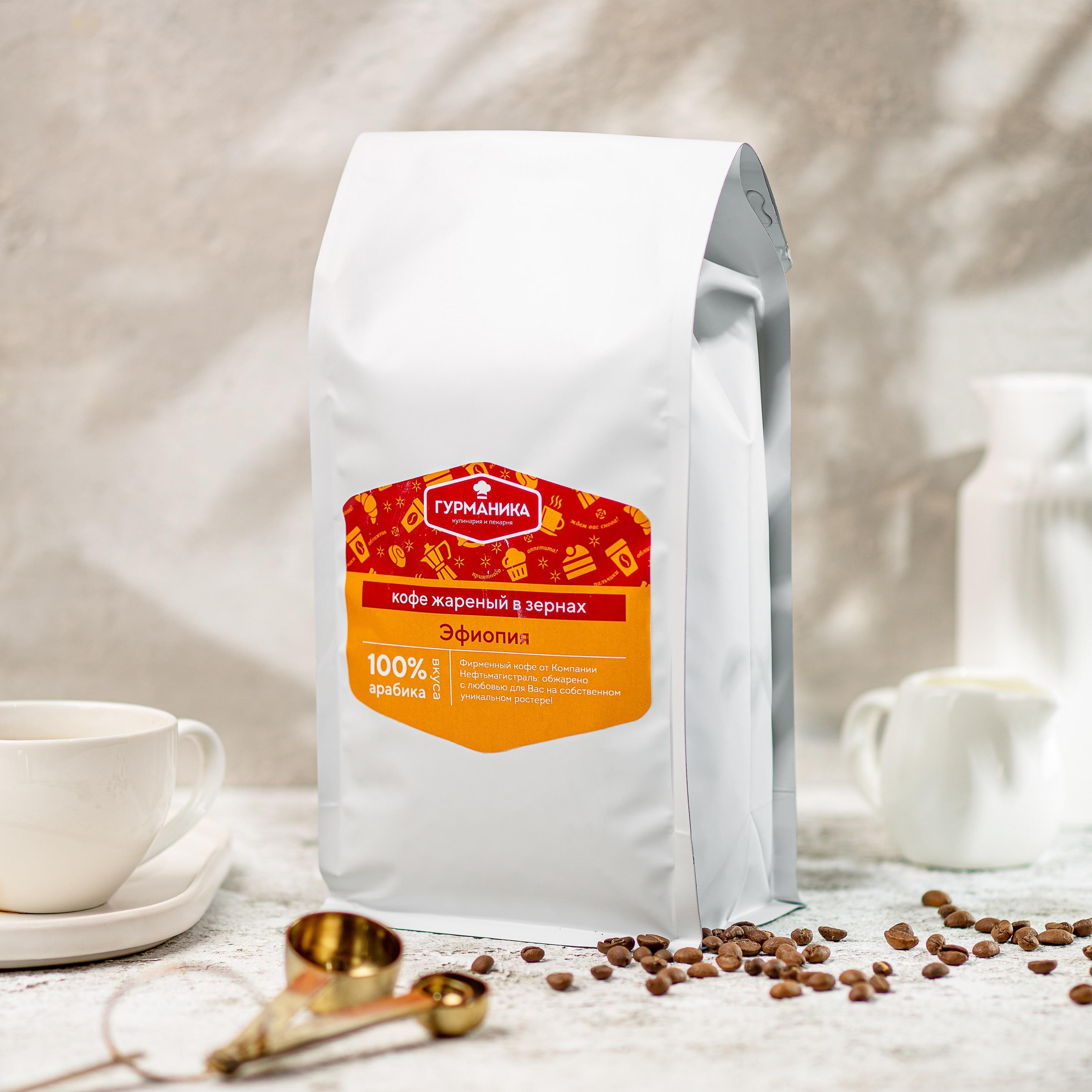 Gurmanica ● coffee natural fried in beans Ethiopia, 100% Arabica