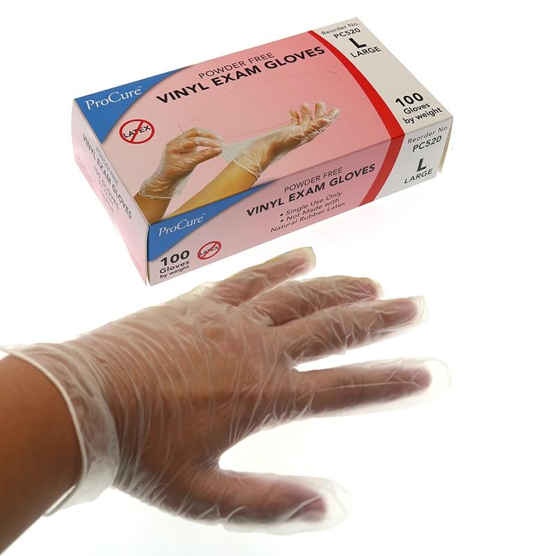 100PCS/BOX Transparent Ethylene Disposable Gloves SIZE L