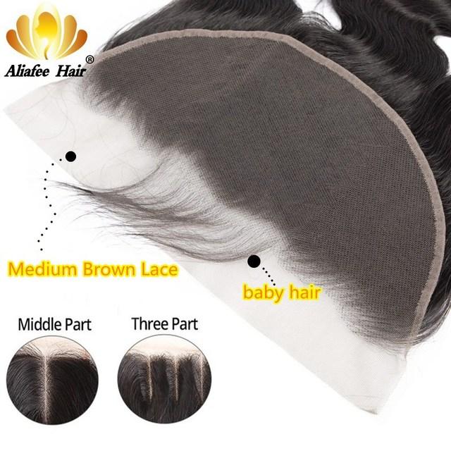 알리 afee 페루 바디 웨이브 13x6 레이스 정면 인간의 머리카락과 아기 머리카락 pre 뽑아 자연 색상 레미 헤어 클로저