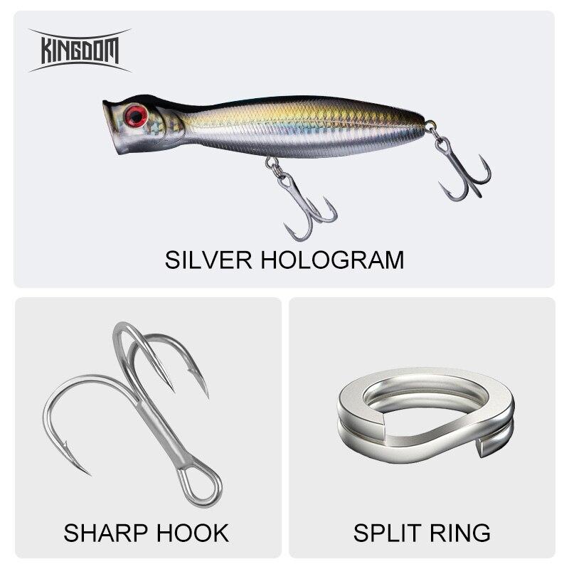 ALI shop ...  ... 32673692646 ... 3 ... Kingdom Popper Floating Wobblers Sea Fishing 8cm/10cm/13cm Fishing Hard Lure Artificial Plastic Bait Strong Hook Model 5285 ...