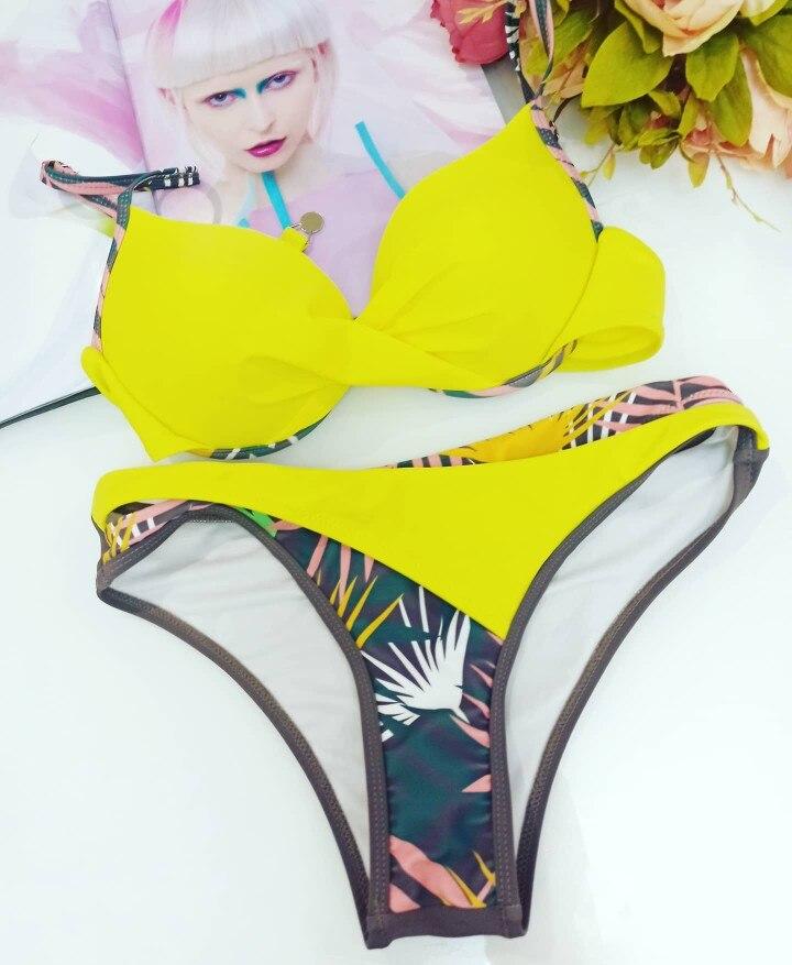 Push Up Sexy Bikini 2021 New Swimwear Women Floral Print Bikini Set Swimsuit Bathing Suit Beachwear Biquini Swimming Two Piece Bikini Set    - AliExpress