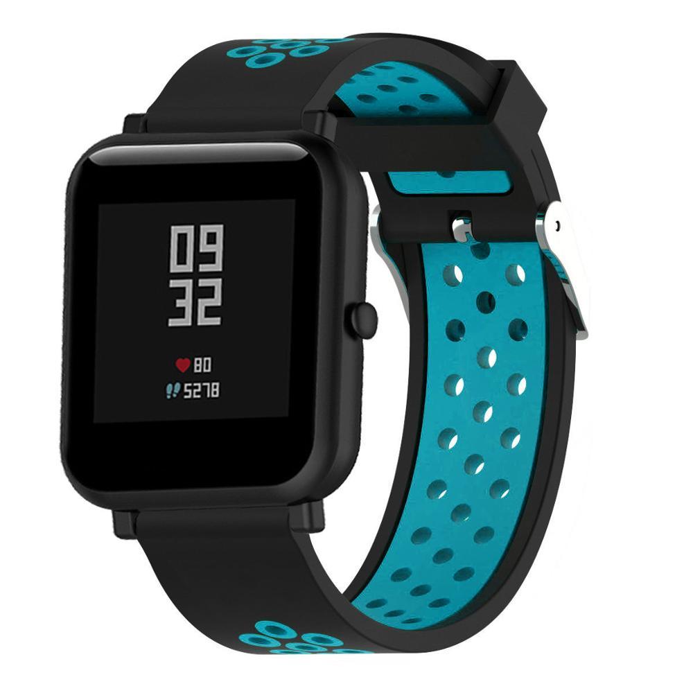 Correas pulsera de recambio para Xiaomi Amazfit BiP Amazfit GTS silicona flexible de colores impermeable y suave cierre de metal 5