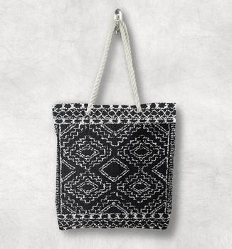 Else Черный Белый античный Анатолия турецкий килим дизайн белая веревка ручка Холщовая Сумка Хлопок Холст на молнии сумка на плечо