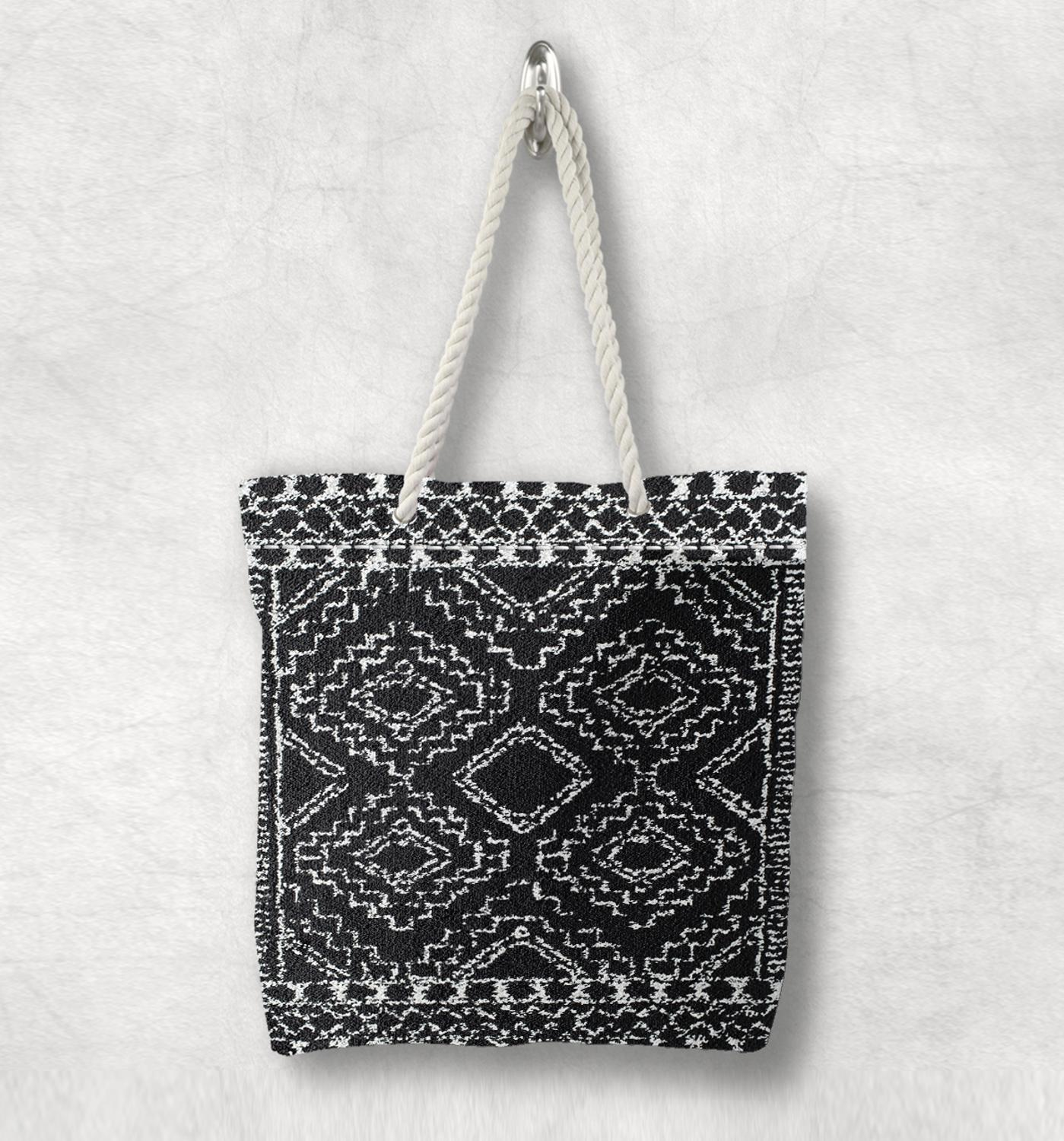 Else Black White Antique Anatolia Turkish Kilim Design White Rope Handle Canvas Bag Cotton Canvas Zippered Tote Bag Shoulder Bag