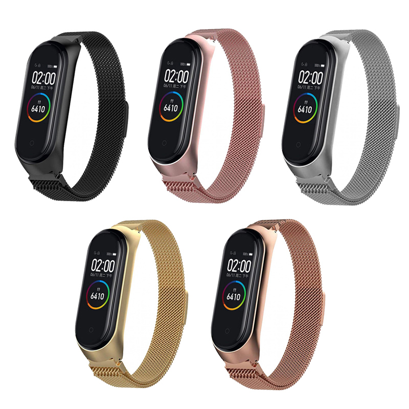 Xiaomi Mi Band 4 Metal Bracelet Mi Band 3 Replacement Smart Watch Accessory Magnet Clasp Band Bracelet Adjustable Replacement