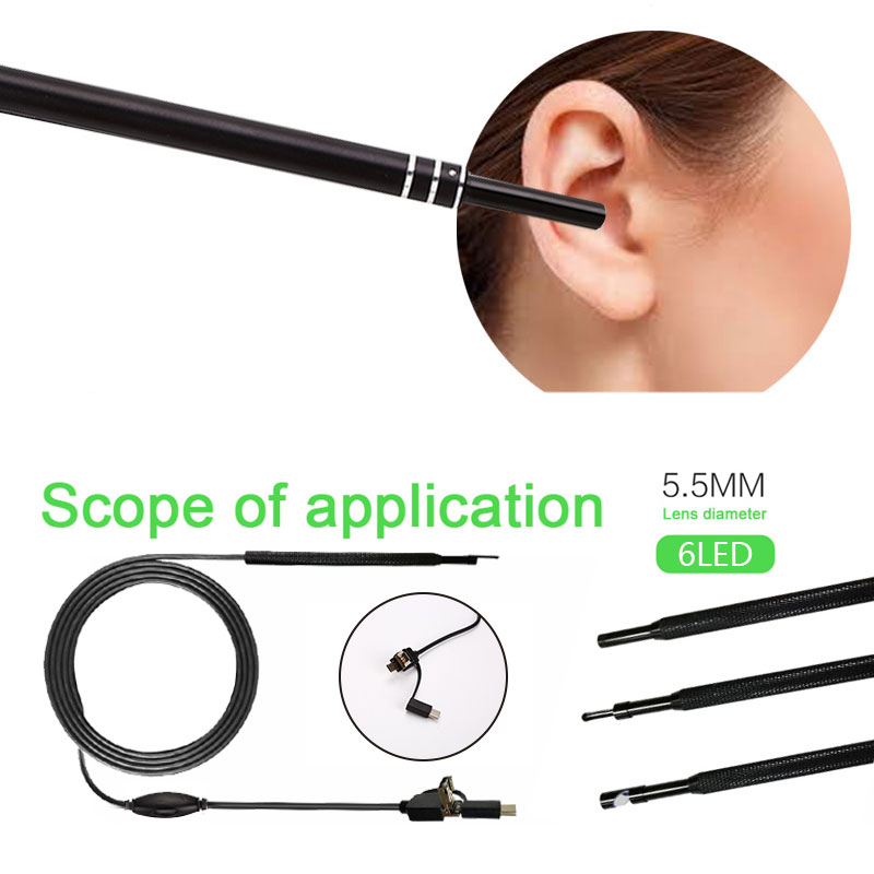 2M 30W 3 In 1 HD Visual Ear Spoon Endoscope Set 6LEDs Adjustable Micro USB For Android/pc Endoscope Camera Snake Pipe