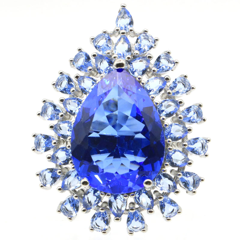 38x30mm Romantic Pear Shape Created Rich Blue Violet Tanznaite Gift For Ladies Silver Rings