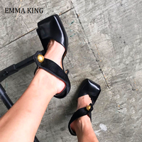 Sexy Black Horse Hair Metal Button Women Pumps Nature Leather Square Toe High Heel Shoes 2020 Ruyway Designer Shoes Women Pumps